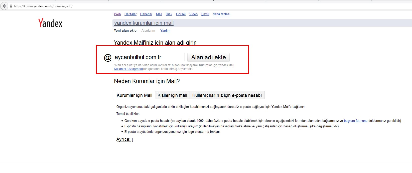 Yandex Kurum Maili oluşturma ve Gmail'e aktarma